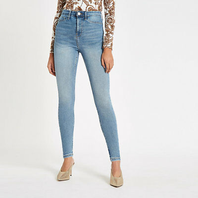 ex-River Island Mid Blue Harper High Rise Jeans FACTORY SECONDS - SDW-7299