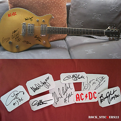 AC/DC stickers autographs vinyl Angus & Malcolm Young,Chris Slade,Brian Johnson