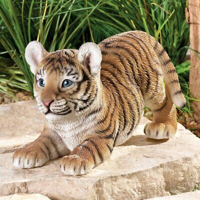 Realistic Baby Tiger On The Prowl Figurine Decoration In/ Outdoor Garden Statue