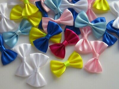 12 Mini Satin Ribbon Bows Ties Sew Crafts Pre Tied Wedding Handmade UK 45 MM