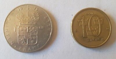 1973 Sweden 1 Krona & 1991 10 Kronor  Swedish KR - set of 2 coins