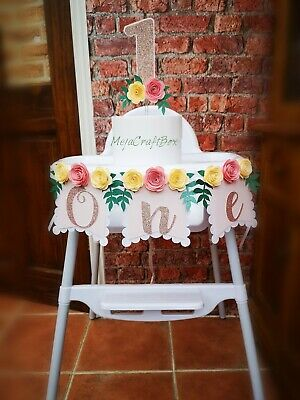 ONE high chair banner floral boho theme smash cake topper first birthday girl