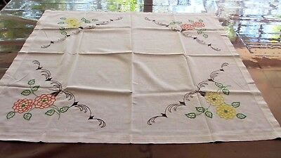 Vintage Beautiful Hand EMBROIDERED  Table Cloth,88 cms x 88 cms