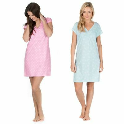 Ladies Short Sleeve 100% Cotton Jersey Night dress 2 Styles 2 Colours Size 8-22