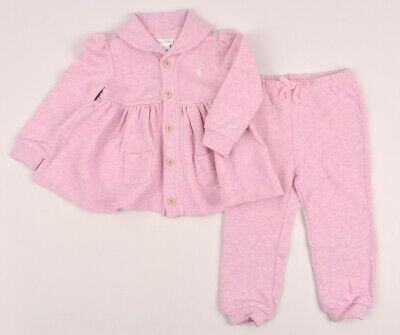 RALPH LAUREN Baby Girls' Pink 2pc Outfit, Pants & Cardigan, 24 months