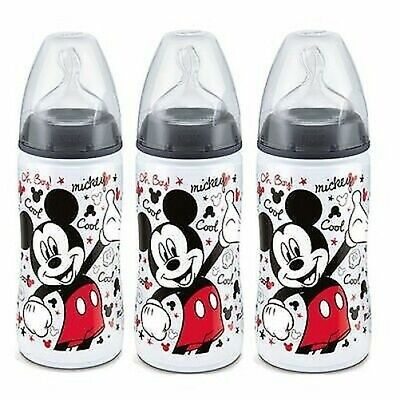 NUK First Choice+ Set of 3 Baby bottles Mickey 300ml Nipple Taille 2 +6 months