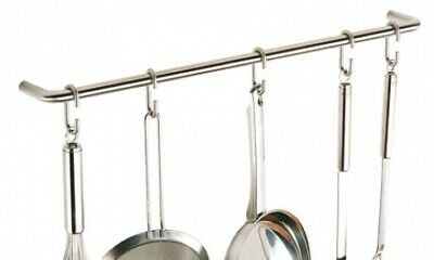 New Madinoz Ur930 Hanging Pot and Utensil Rack - Polished Stainless Steel 900Mm
