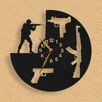 """I Love Weapons Wooden Wall Clock 12""""(30cm), Counter Strike #42"""