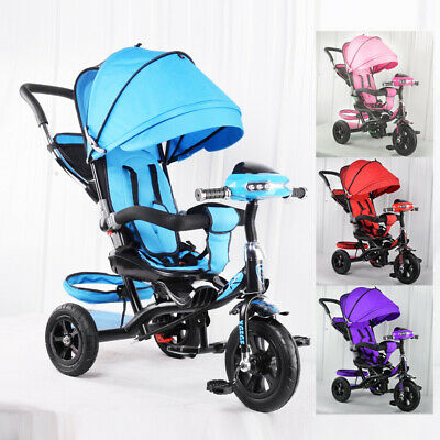 Toyico™ Kids 4 In 1 Trike Tricycle Stroller Buggy Bar Push Bike With Canopy