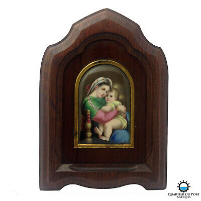 French Antique Miniature Reverse Glass Painting, Raphael's Madonna and Child