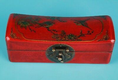 Vintage Chinese Red Leather Jewelry Box Painting Flowers Bird Home Decora