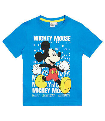 Boys Kids Official Disney Mickey Mouse Blue Short Sleeve T Shirt Top