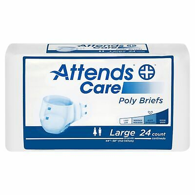 Attends Care Adult Diaper Brief LARGE Poly Briefs BR30 24/ Bag