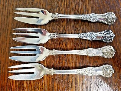 Antique Tiffany ENGLISH KING Sterling Silver CAVIAR FORK Set of 4 RARE