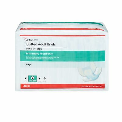 Wings Ultra HEAVY Absorbency Adult Diaper Brief LARGE Quilted 77074 18/ Bag