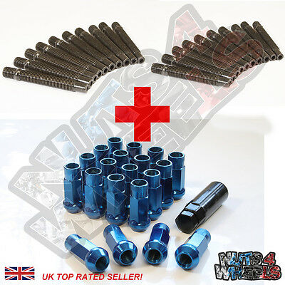20 Wheel Stud Conversion kit GT50 Blue Nuts 82mm +17 fit BMW 3 Series E36 E46