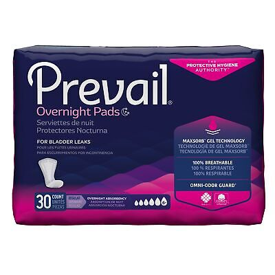 """Prevail HEAVY Absorbency Female Incontinent Pad Overnight 16"""" L PVX-120 30/ Bag"""