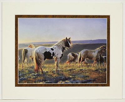 Welcome the Dawn by Nancy Glazier 8x10 double matted art print - Horses