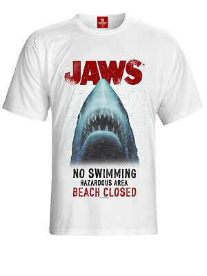 Der weisse Hai Jaws Beach Closed T-Shirt weiss