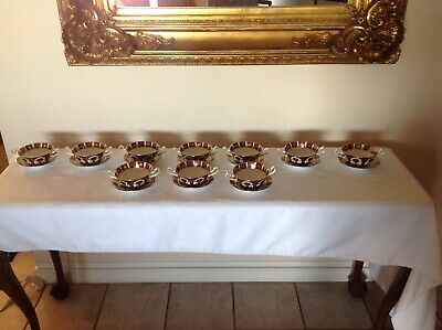 Royal Crown Derby 0Ld Imari  2 Handle Cream Soup And Stand.