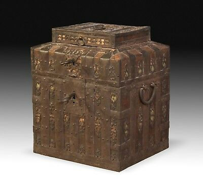 Ironbound Strongbox or Chest, Wrought Iron, Wood, Possibly Russia, 17th Century