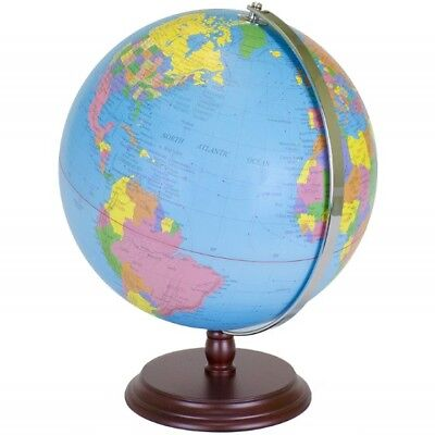 "World Geographic Globe 12"" Atlas, Stand Earth Political Maps Blue Oceans Classic"