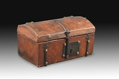 Wooden Chest, Leather and Metal, 17th Century