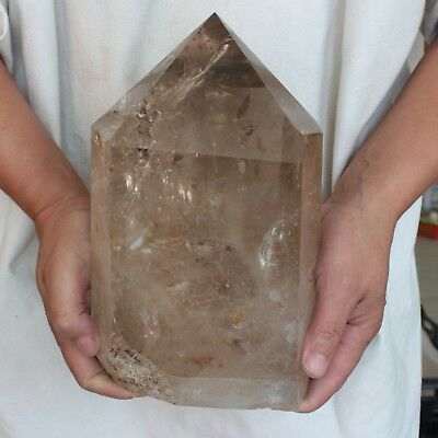 "16.47LB 9.7"" Natural Smokey Clear Quartz Crystal Point Tower Polished Healing"