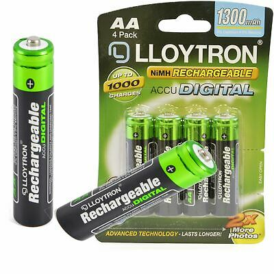 Lloytron AA Rechargeable Batteries NiMH 1300mAh Phone Remote Camera HR6