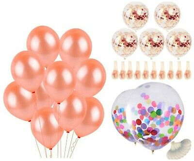 """12"""" Rose gold Confetti Balloons Clear/ Transparent Colourful Confetti Baloons"""