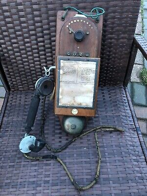 Rare Antique Edwardian Parsons Sloper Secret Service Wall Mounted Telephone