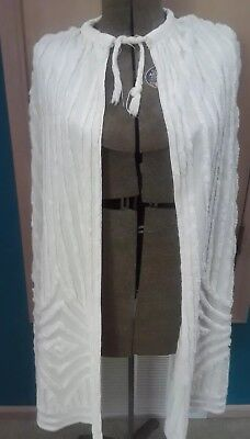 CHENILLE Vtg 40s 50s White Cotton Cape Summer Beach Jacket Coat L, XL