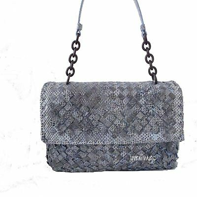 Auth Bottega Veneta Olimpia Bag Intreccio Ayers In Light Blue ciel Gorgeous! 12b0f9aa6ba71