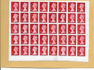 100 x 1st Class Red Stamps  Unfranked OFF PAPER  With gum