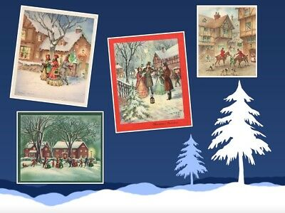 Old Fashioned Christmas Card S 4 Winter Scenes Used Great For