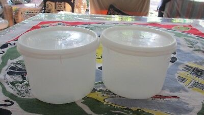 Vintage Tupperware Round Sheer Canisters with good seals x 2