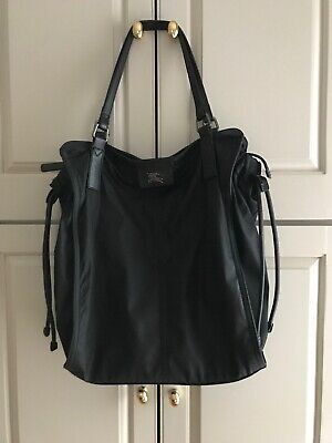 96e6cb69655f Authentic BURBERRY Black Nylon Leather BUCKLEIGH Packable Tote Bag Purse