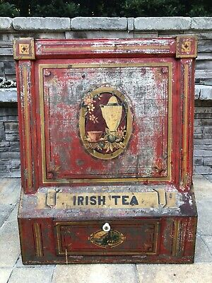 Vintage Extra Large General Store Tin Tea Counter Display (Irish Tea)