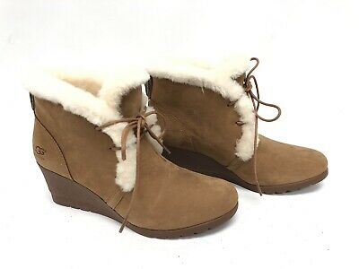 f522041c465a UGG Australia Jeovana Boots Chestnut Suede Waterproof WP 1017421 Wedge Lace  ~