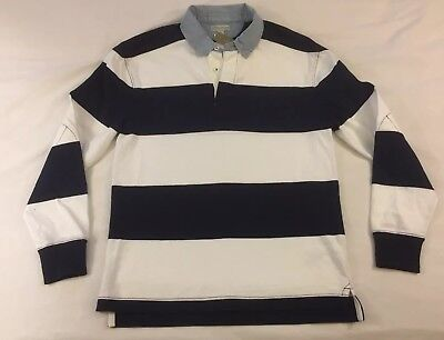 eac9167148e NWT J Crew Men's Rugby Shirt Blue White Stripe Size Adult Small Chambray  Collar
