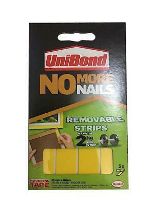 UNIBOND NO MORE NAILS REMOVABLE STRIPS 2/5/10 Pack Indoor 20x40mm White Pictures