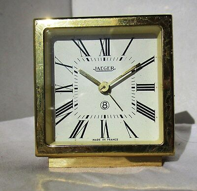 Beautiful Gold Gilded Brass and Maroon Alarm Clock from JAEGER – 8 day