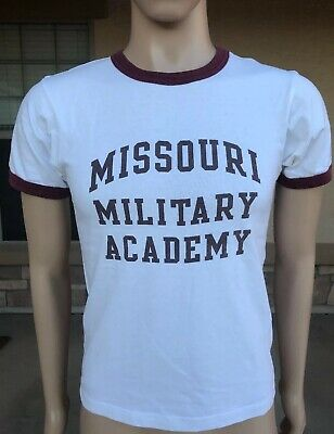 d770cd97521 Vintage 70s 80s Missouri Military Academy Ringer T Shirt USA Made Size  Small S