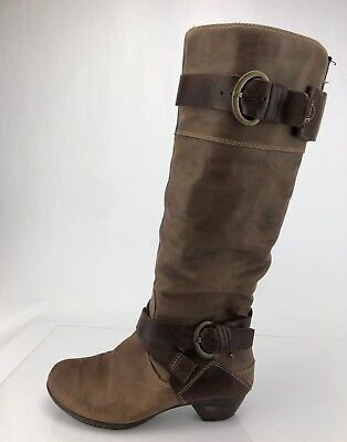 c3b31f2baaa Pikolinos Knee High Boots Brown Zip Buckle Leather Riding Brujas Womens 38  7.5 8