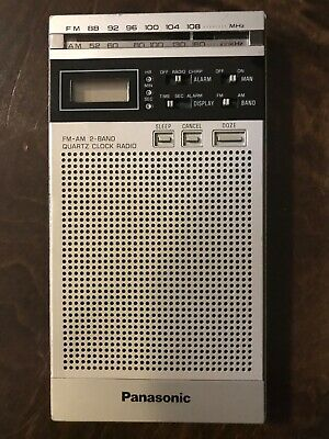 Vintage Panasonic RF-066 MISTER THIN AM FM Clock Transistor Radio - Working