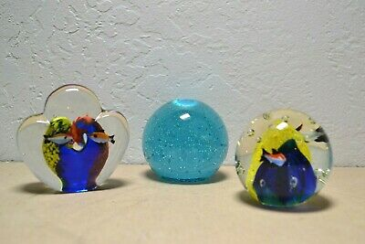 "3 Paperweights - Murano Art Glass Fish Aquarium Reef Air Bubble Paperweight 3"" t"