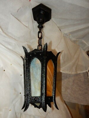 Large Arts & Crafts Cast Iron Porch Light Pendant w/ Carmel Slag Glass--6 Avail.