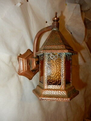 Arts & Crafts Hammered Copper with Leaded Textured Glass Porch Light Sconce