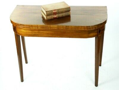 19th Century Inlaid Mahogany Folding Card Console Table - FREE Shipping [P4913]