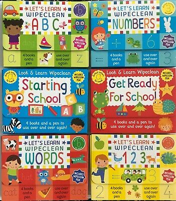 PRE-SCHOOL / RECEPTION / KS1 WIPE CLEAN BOOKS PACK  Ages 3+  NEW!!!!